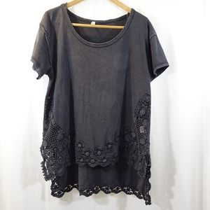 FREE PEOPLE Gray Lace Trimmed Shirt Short Sleeves